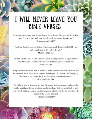 I will never leave you Bible verses printable