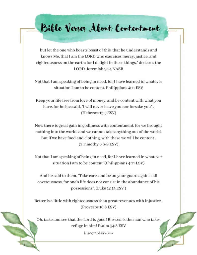 Bible verses about contentment printable