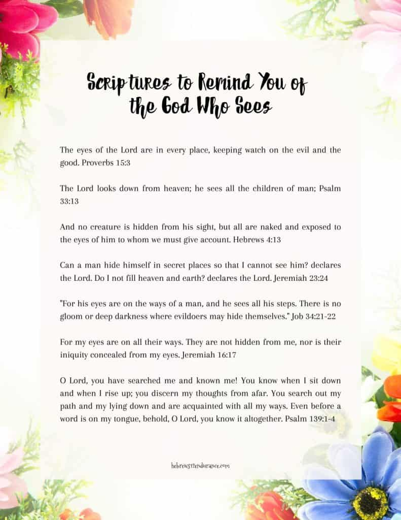 The God Who Sees Scripture printable
